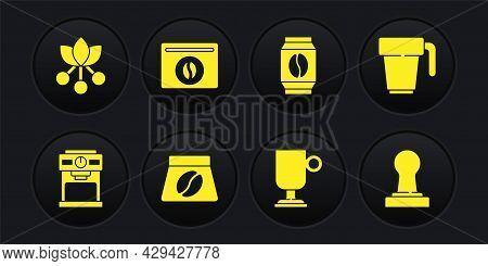 Set Coffee Machine, Cup, Bag Coffee Beans, Irish, Tamper And Bean, Branch Icon. Vector