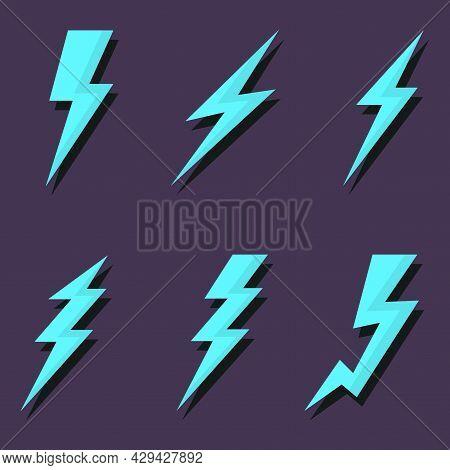 Thunder And Lightning Icons Set. Various Design Options. Vector Illustration On A Dark Background.