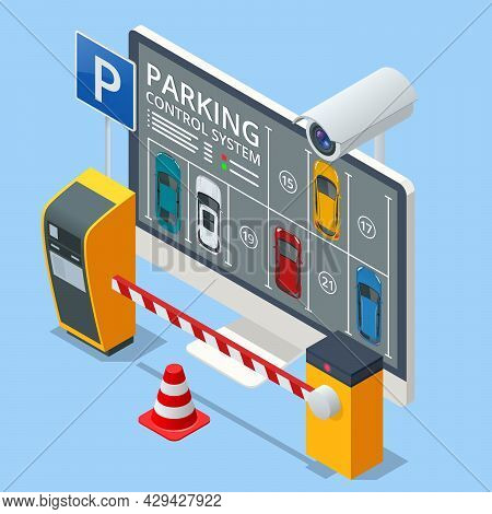 Isometric Parking Lot Displayed On Screen. Car Park Location. Online Searching Free Parking Place On