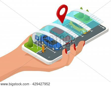 Isometric Parking Lot Displayed On Screen. Car Park Location On Smartphone. Smartphone Application F