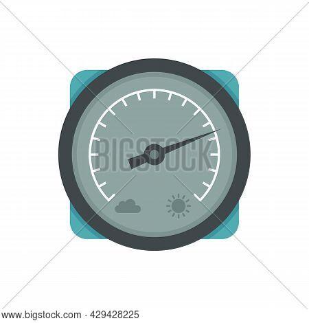 Climate Barometer Icon. Flat Illustration Of Climate Barometer Vector Icon Isolated On White Backgro
