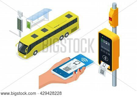 Isometric Electronic Validator Of Public Transport Fare. Contactless Wireless Payment Via Mobile Pho