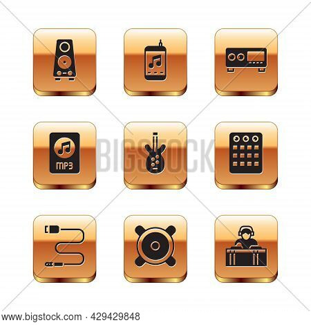 Set Stereo Speaker, Audio Jack, Electric Bass Guitar, Mp3 File Document, Guitar Amplifier, Dj Playin