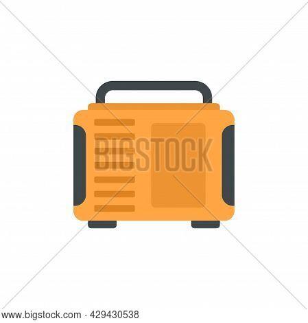 Gasoline Industrial Generator Icon. Flat Illustration Of Gasoline Industrial Generator Vector Icon I