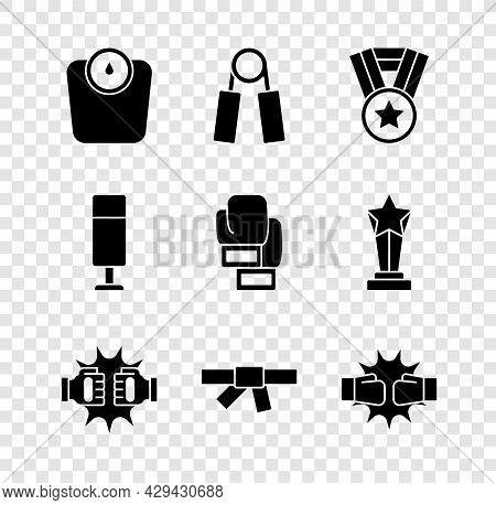 Set Bathroom Scales, Sport Expander, Medal, Punch In Boxing Gloves, Black Karate Belt, Punching Bag