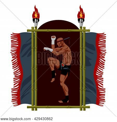 Muay Thai Boxer, Traditional Ritual Dance Before The Fight, Bamboo Frame With Festive Flags And Torc