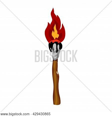 A Burning Torch Made Of A Branch And A Wound Oiled Rag, Tongues Of Red Flame, Vector Illustration Is