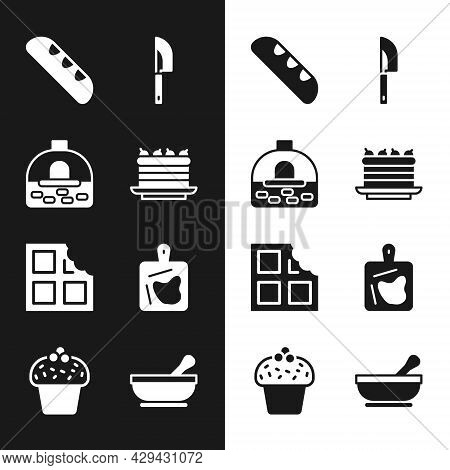 Set Cake, Brick Stove, French Baguette Bread, Knife, Chocolate Bar, Cutting Board, Mortar And Pestle