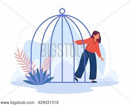 Young Cartoon Woman Leaving Birdcage. Flat Vector Illustration. Female Person Opening Jail After Cri