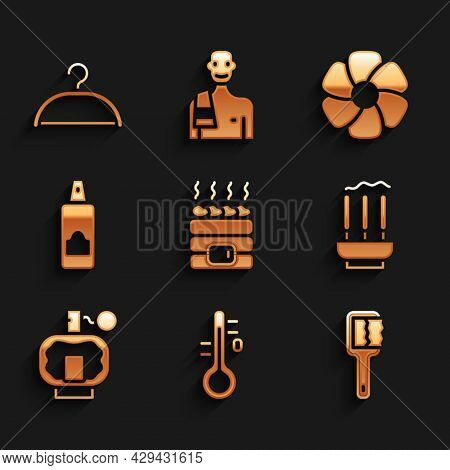 Set Hot Sauna Stones, Sauna Thermometer, Brush, Incense Sticks, Aftershave, Spray Can For Hairspray,