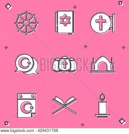 Set Dharma Wheel, Jewish Torah Book, Christian Cross, Star And Crescent, Easter Egg, Hindu Spiritual