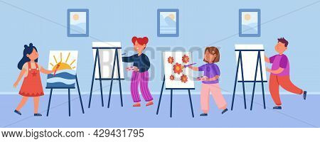 Cartoon Kids At Drawing Lesson Flat Vector Illustration. Little Boy And Girls Painting Pictures On E