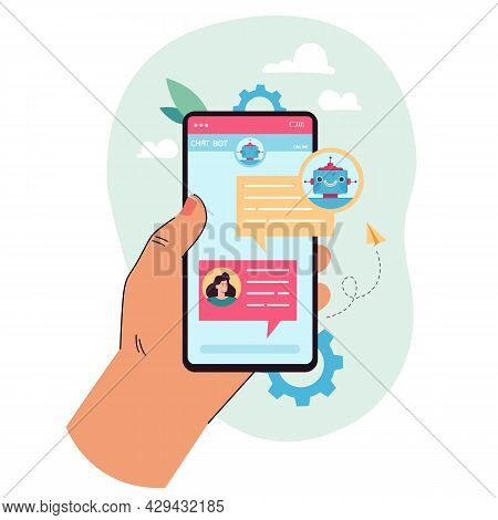 Hand Holding Mobile Phone With Chat Bot On Screen. Female Character Talking To Online Robot Flat Vec