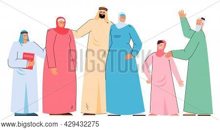 Happy Arab Cartoon Family In Traditional Clothes. Muslim People, Husband, Wife In Hijab, Son, Young