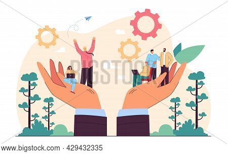 Hands Holding Team Of Tiny Business Persons. Social Help Or Support For Workplace Community Flat Vec