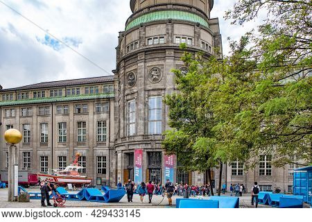 Munich, Germany - September 14, 2018: The Main Entrance Of The Deutsches Museum In Munich, Germany,