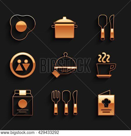 Set Covered With Tray Of Food, Fork, Spoon And Knife, Cookbook, Coffee Cup, Online Ordering Delivery