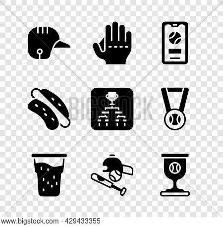 Set Baseball Helmet, Glove, Mobile With Baseball, Glass Of Beer, Bat Hat, Award Cup, Hotdog Sandwich