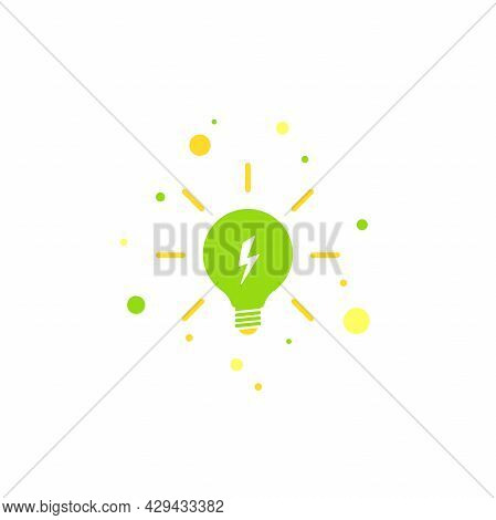 Green Bulb With Rays And Lightning Bolt Flat Icon. Isolated On White. Electric Light Icon. New Busin