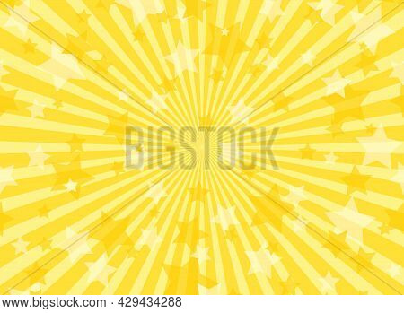Sunlight Horizontal Background. Gold Yellow Color Burst Background With Shining Stars. Vector Illust