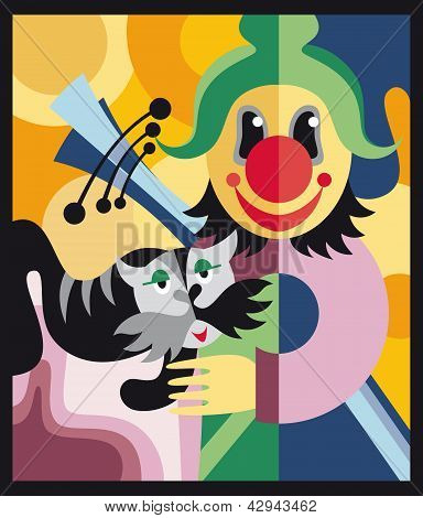 Clown and the cat in the circus. Vector illustration poster