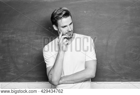 Happy Teachers Day. Master Of Simplification. Man Teacher In Front Of Chalkboard. Teaching Could Be