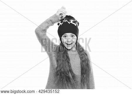 Winter Holiday Wonder. Child Knitted Hat Isolated On White. Cold Winter Weather. Warm Clothes And Ac