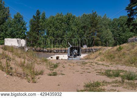 Fort Krasnaya Gorka, Russia - July 19, 2021: 130 Mm / 50 Shipborne Artillery Mount Of The 1935 Model