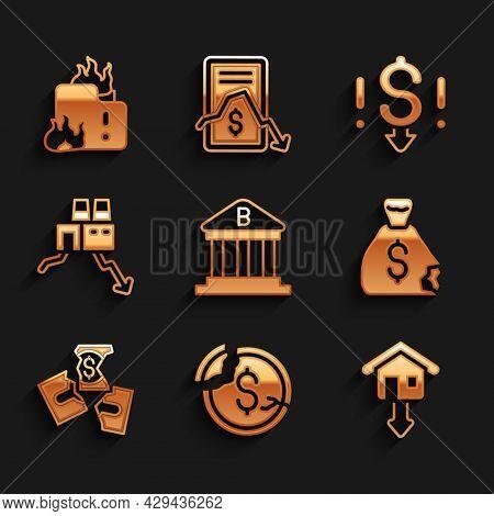 Set Bank Building, Dollar Rate Decrease, Falling Property Prices, Money Bag, Tearing Money Banknote,