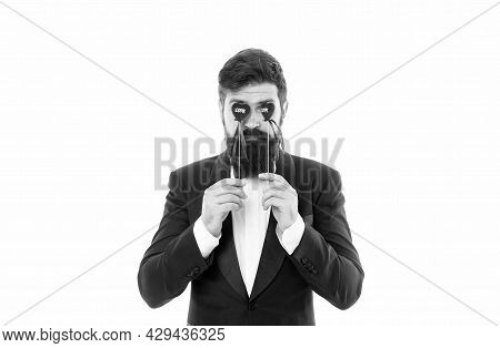 Dangers Of Blind Love. Businessman With Beard And Mustache Formal Suit. Love And Romance. Romantic H