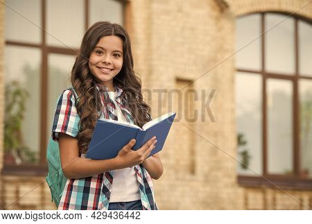 Here Is Book Just Like Your Friend. Happy Child Read Book Outdoors. Cute Bookworm Wear Long Hair. Sc