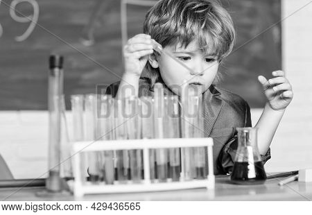 The Formula Is Almost Complete. School Bilogy Laboratory. Little Boy In The Laboratory. Bilogy Lab.