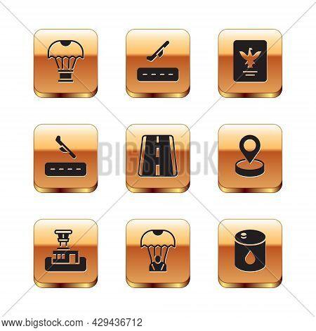 Set Box Flying On Parachute, Airport Control Tower, Parachute, Runway, Plane Landing, Passport, Barr