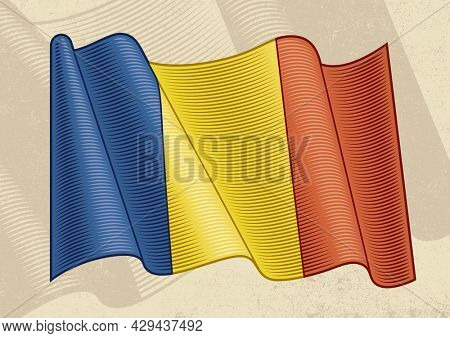 Vintage flag of Romania in woodcut style
