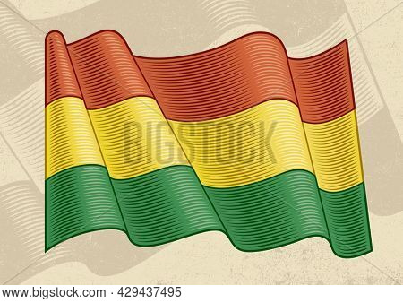 Vintage flag of Bolivia in woodcut style