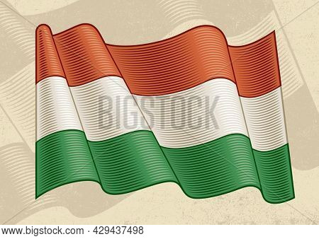 Vintage flag of Hungary in woodcut style