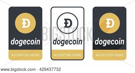 Dogecoin Accepted Here Button. Sticker Or Badge Dogecoin Accepted. Pay With Dogecoin Button. Vector