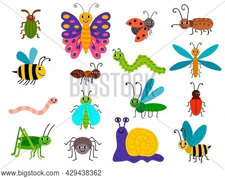 Cute Different Insects Set In Childlike Flat Style. Bugs, Caterpillar, Worm, Snail, Butterfly, Bee,
