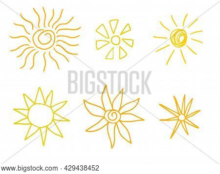 Doodle Sun Icons. Hot Weather Suns Collection Isolated On White. Summer Doodles With Sunlight, Sketc