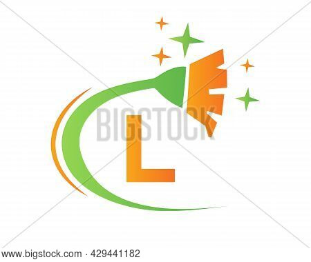 Cleaning Logo With L Letter Concept. House Clean And Broom Logo. L Letter Maid Logo Design