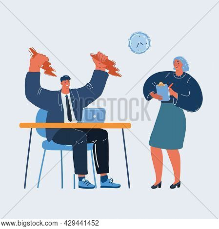 Vector Illustration Of Angry Boss Shouting At His Worker With An Expressive Look.