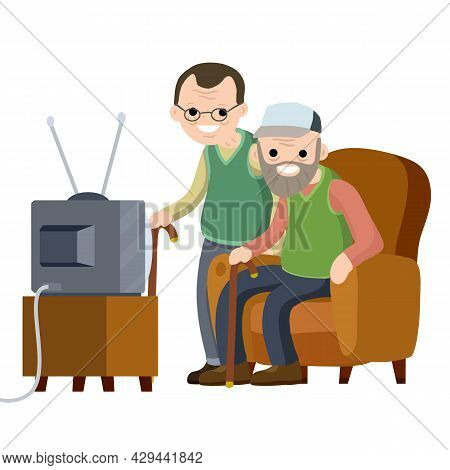 Old Senior Man Sit In Couch And Watching Retro Tv. Lifestyle Of Grandpa. Cartoon Flat Illustration.