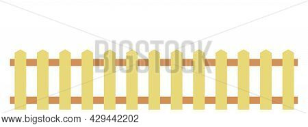 Wooden Fence Isolated On A White Background. Flat Style. Vector Illustration Eps 10.