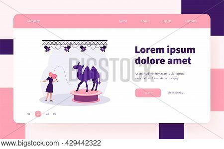 Happy Animal Trainer Performing With Camel On Stage. Violence, Knout, Arena Flat Vector Illustration