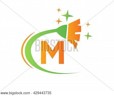 Cleaning Logo With M Letter Concept. House Clean And Broom Logo. M Letter Maid Logo Design