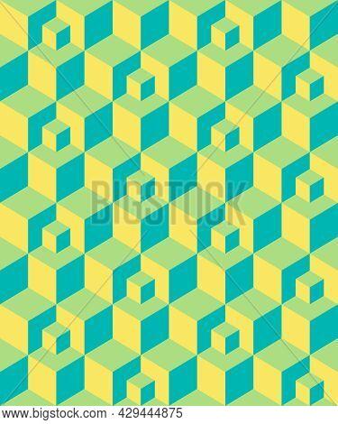 Abstract Background Seamless Geometric Pattern. Cube Shape, Diamond Shape. Yellow Green Blue Color.