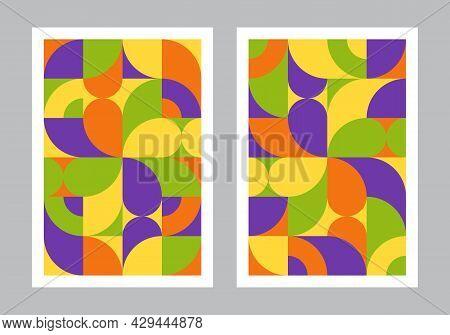 Abstract Geometric Pattern Background. Bauhaus Style Art. Circle, Semicircle, Square Shapes. Colorfu
