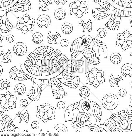 Seamless Pattern With Dark Contour Cartoon Fun Turtles, Flowers And Fish, Outline Animals On A White