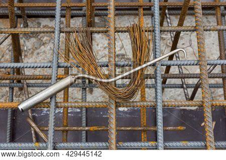Hook For Rebar Steel Work Reinforcement. Rebar Tying Tool. Reinforcement Steel Rod. Construction Reb