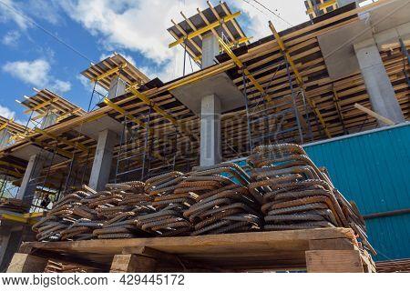 Steel Reinforcement Bars. Construction Rebar Steel Work Reinforcement. Closeup Of Steel Rebars.